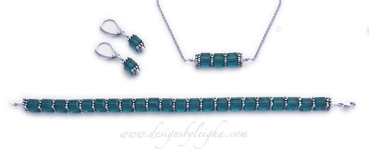 DBL-BB-14  December or Turquoise Birthstone Jewelry Set shown with Turquoise or December Birthstone Swarovski Crystals. Turquoise Earrings, Turquoise Bracelet and Turquoise Necklace is shown.