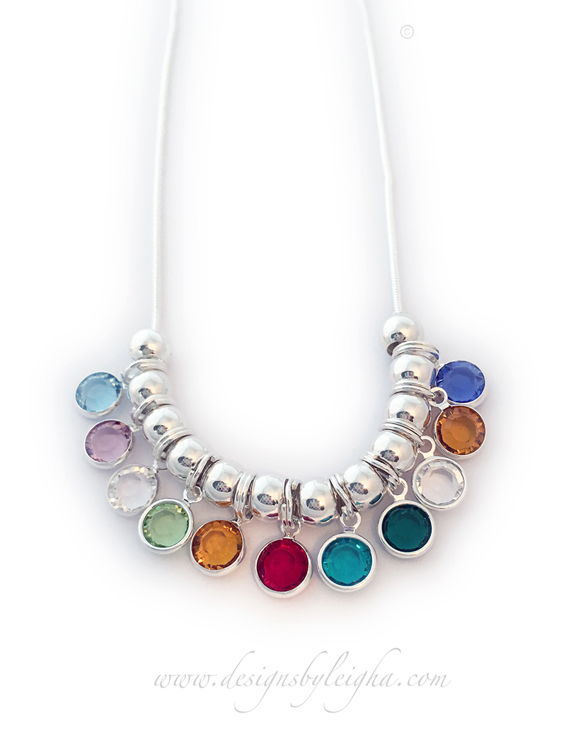 DBL-BN-N12  Swarovski Crystal Channel Birthstone Necklace shown with 11 birthstone charms and sterling silver spacers - March, June, April, August, November, July, December, May, April, November and September