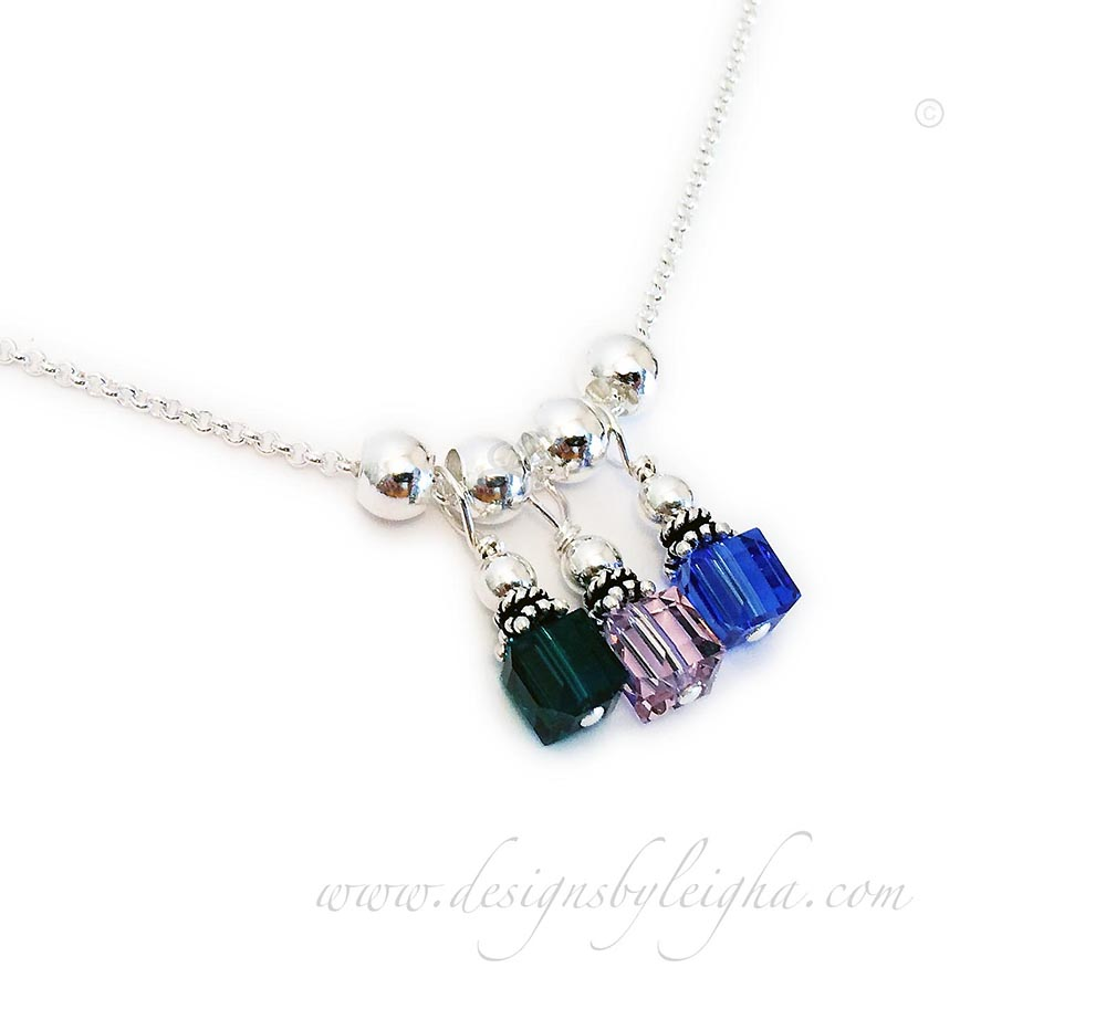DBL-BN-N4  3 Square Birthstone Crystal Necklace Emerald or May Birthstone, June Birthstone and September and Sapphire Birthstone with spacer beads.