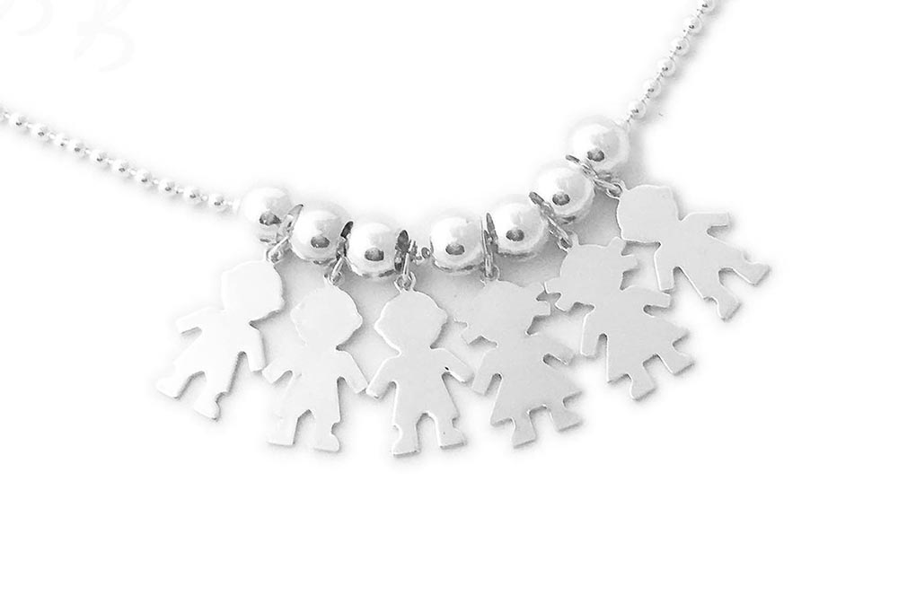 You choose the number of boy and girl charms on the necklace (birthstone charms optional).