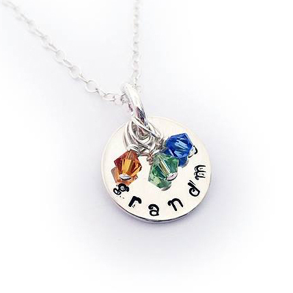 Sterling Silver Birthstone Necklace with 3 birthstones - November, August and September
