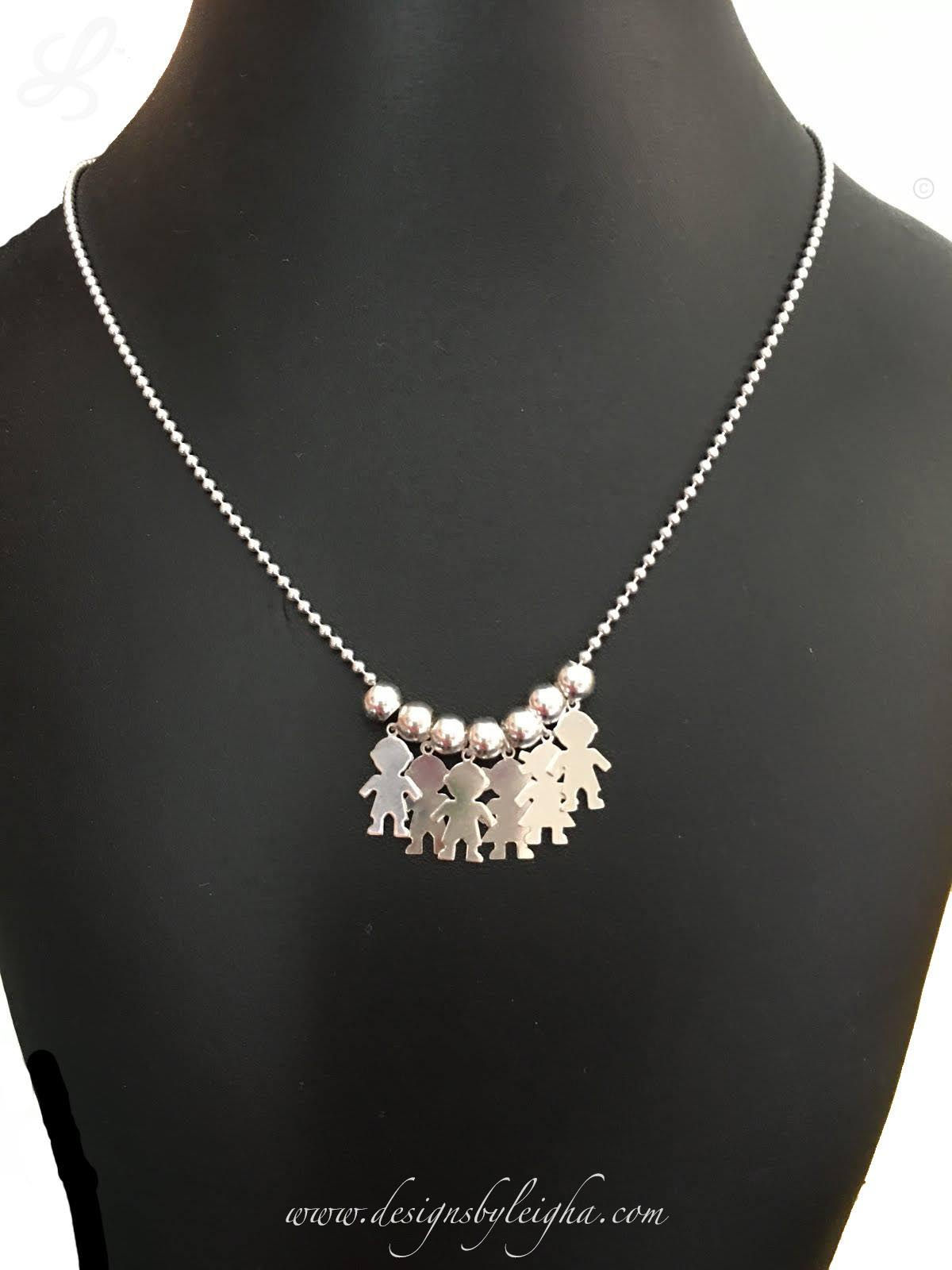 Boy and Girl Charm Necklace with 6 boy and girl charms - DBL-BN-N6