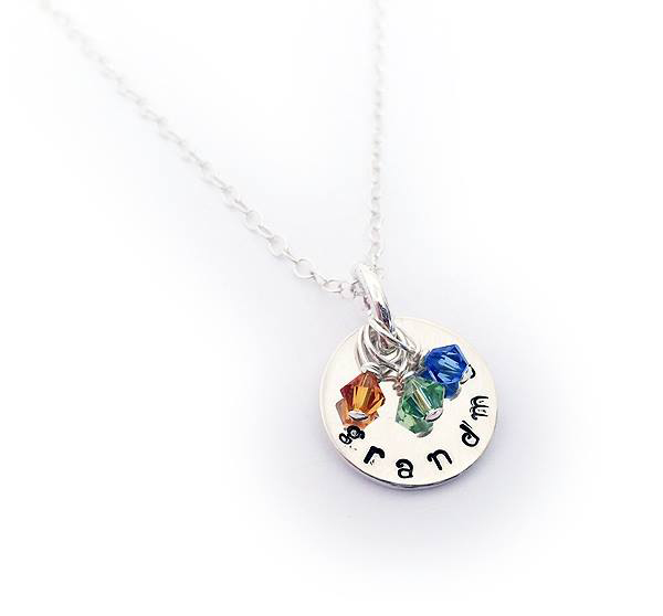 Sterling Silver Birthstone Necklace for Grandma with 3 birthstones - November, August and September - DBL-BN-N1