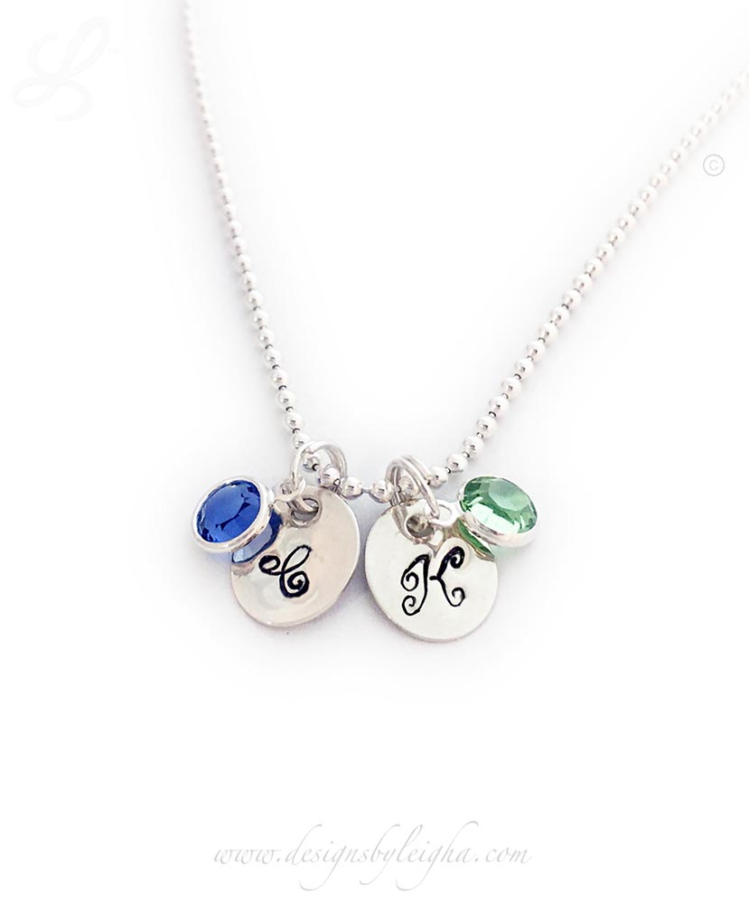Initial Birthtone Necklace with a Sterling Silver Charm with an initial and a Swarovski Crystal Birthstone
