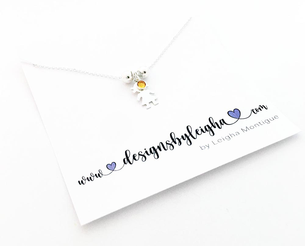Girl Charm Necklace with a November Birthstone on a Rolo Chain