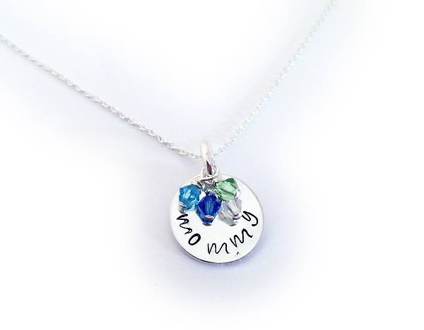 Sterling Silver Birthstone Necklace for Mommy with 4 birthstones - December, September, April and August - DBL-BN-N1