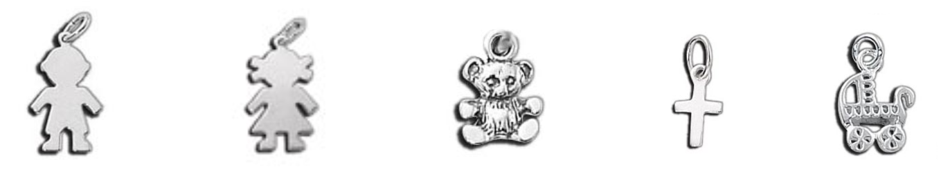 Sterling Silver Tiny Charms - Boy, Girl, Teddy Bear, Cross and Baby Carriage charms.