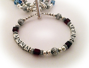 Grandma Birthstone Bracelet with kids and grandkids birthstones and a Grandma charm