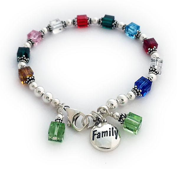 Birthstone Bracelet with FAMILY and Birthstone Crystal Charms