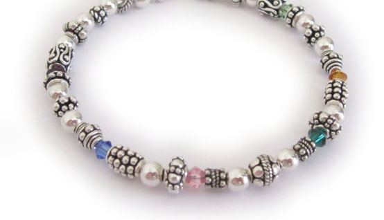 Birthstone Bracelet with up to 18 birthstone crystals