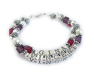 Gina and Vincent Mother Bracelet with February and July Swarovski Crystal