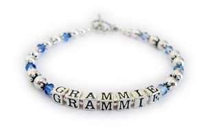 Grammie Birthstone Bracelet with September and December Birthstone Crystals