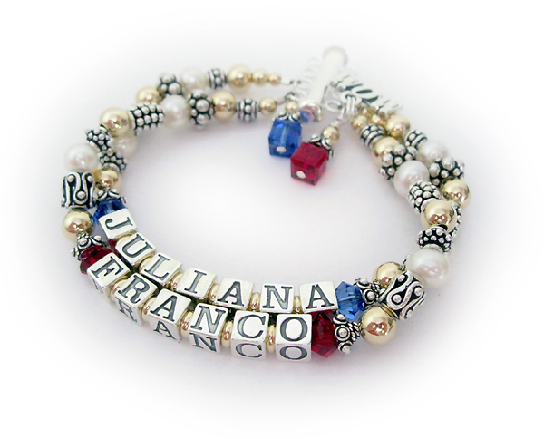 Franco and Juliana Mother Bracelet with July and September Birthstone Crystals