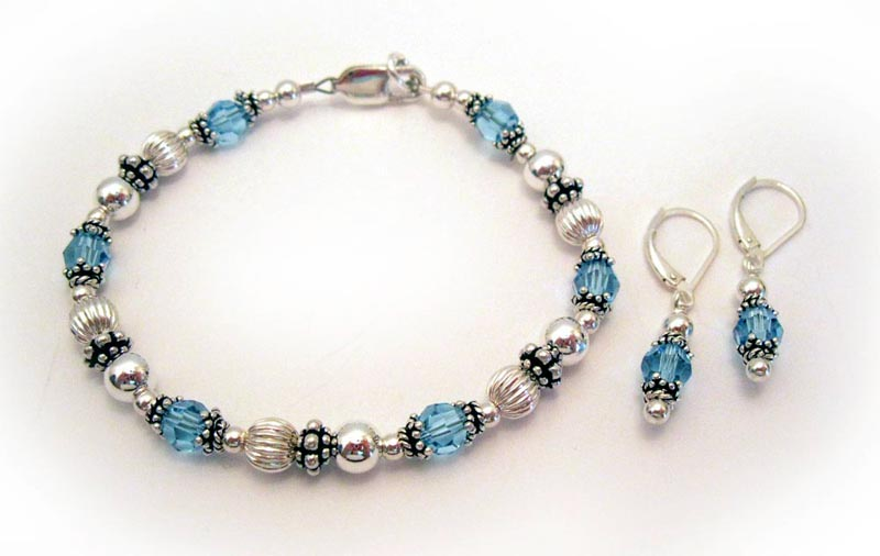 March or Aquamarine Birthstone Bracelet with Earrings