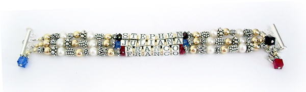 Franco, Juliana, Stephen Mother Bracelet with July, September and January Birthstone Crystals
