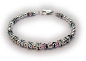 Sweet 16 Bracelet with Pink Swarovski Crystals