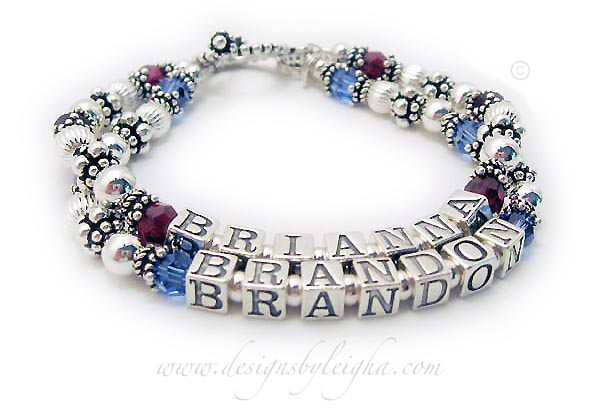 This is a 2 name and 2 string Birthstone Bracelet for Mommy. The first string has BRIANNA and July or Ruby Birthstone Crystals. The second string has BRANDON with September or Sapphire Swarovski Crystals. They picked the Beaded Toggle Clasp and didn't add any charms.