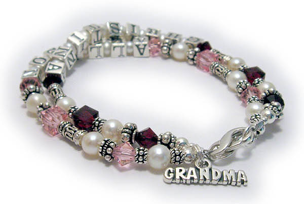 Grandma Birthstone Bracelet with Grandkids birthstone crystals and names with a GRANDMA charm.