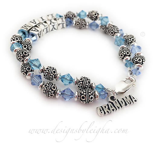 This Bali Birthstone Bracelet is a 2-string bracelet with 2 names. The first string shows Lyla with March or Aquamarine Birthstone Crystals and the second string showns Liam and December or Blue Topaz Birthstone Crystals. They kept the beautiful free lobster claw clasp but added a GRANDMA charm to their bracelet order/cart.