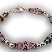 Initials Bracelets with Birthstone Crystals