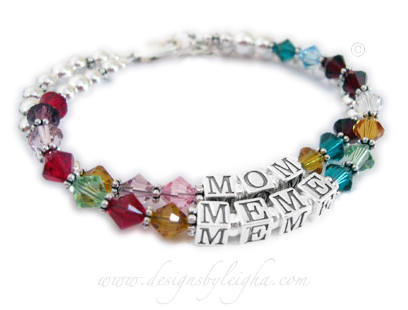 DBL-C12This is a 2 string bracelet with a lobster claw clasp. The first string says MOM with her kids' birthstones. The second string says MEME with her grandkids' birthstones. They added a Beaded Heart charm to their order.