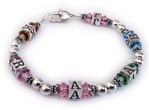 Initial Bracelet with birthstone Crystals