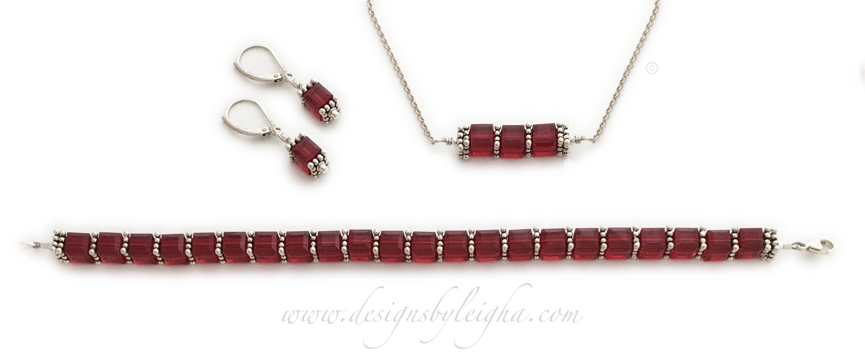 Ruby Birthstone Jewelery Set - Ruby Earrings, Ruby Bracelet and Ruby Necklace
