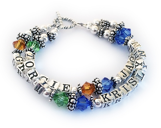 4 name large birthstone bracelet