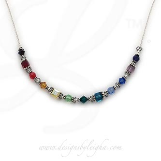 12 birthstone necklace with Swarovski crystals and sterling silver beads - DBL-BN-13