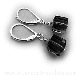 Black Crystal Earrings for Melanoma Awareness