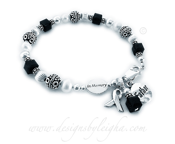 In Memory of my Daddy Bracelet with Black Crystals