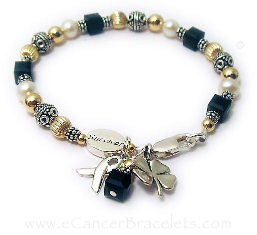 Melanoma Survivor Black Ribbon Bracelet
