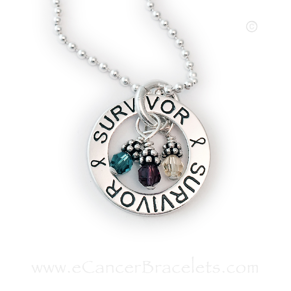 This Survivor Survivor Necklace is shown with 3 Cancer Awareness Charms: Teal, Purple and Yellow for Ovarian Cancer, Lymphoma and Bladder Cancers.