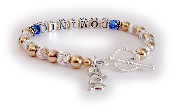 Gold and sterling silver 1 string mothers bracelet mommy