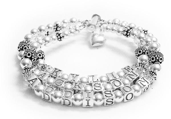 3 name mothers bracelet with crystals and charm