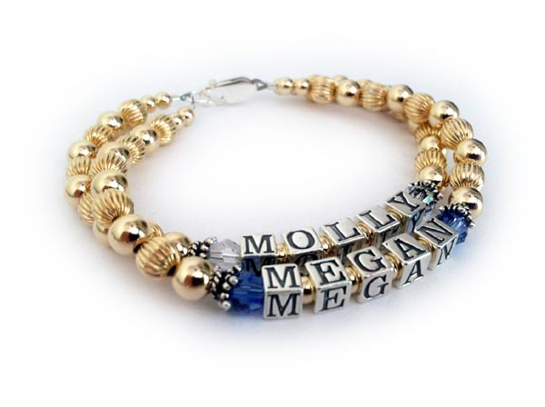 Megan & Molly Mothers Bracelet with September & April Birthstone Crystals