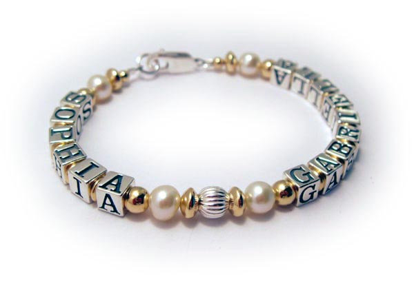One string mothers bracelet with gold and pearls