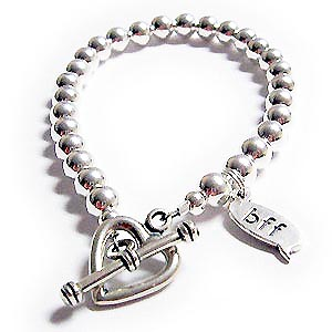 Bff sterling silver bracelet with heart toggle