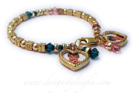 DBLGG4-1 This is 1-string Gold Block Birthstotne bracelet with 2 names: Isabelle with May or Emerald Birthstone crystals and Johana with October or Pink Birthstone Crystals. It is shown with 4 additional add-ons; 2 Birthstone Crystal Dangles (May and October) and 2 - 14k GF Heart Picture Frame Charms.
