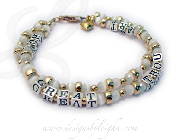 2 string mothers bracelet with cats eye beads - How Great Thou Art
