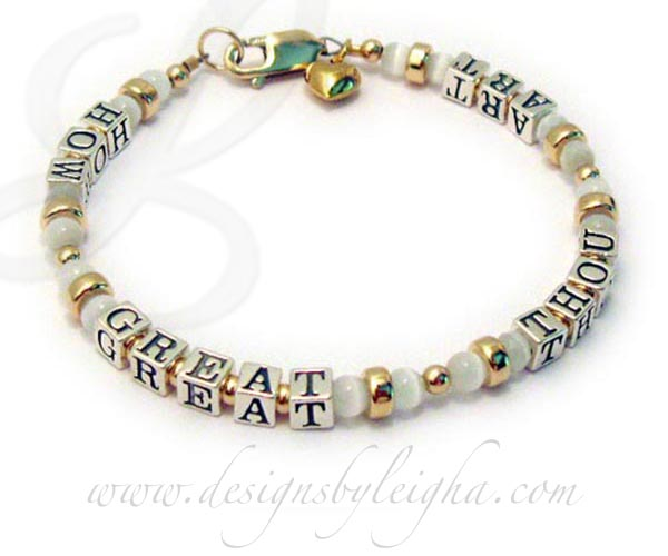 Cat's Eye Bead Name Bracelet - HOW GREAT THOU ART with Gold Beads, Clasp and Gold Puffed Heart Charm