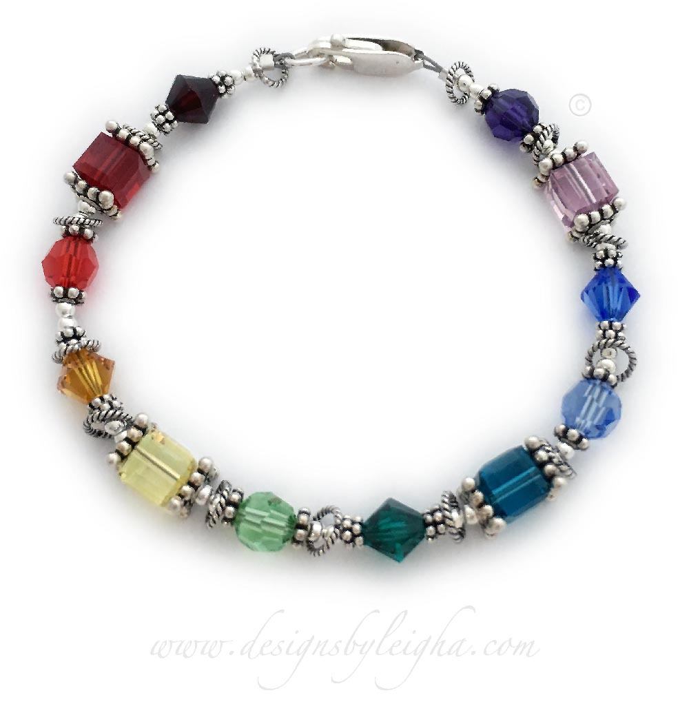 12 Chakra Bracelet #3 - Sterling Silver & Swarovski Crystals - Round, Bicone and Square