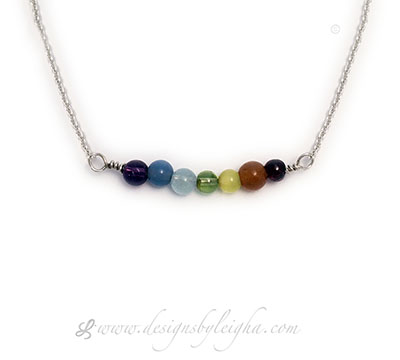 dBL-CH-N5 7 Major Charka Gemstone Necklace - The gemstones are Amethyst, Indigo, Aquamarine, Peridott, Cat's Eye, Aventurine and Garnet.