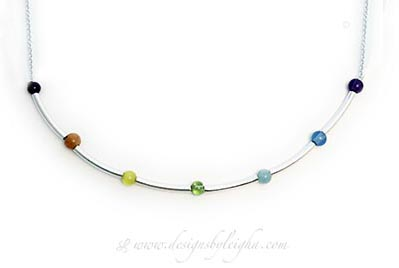 7 Major Charka Gemstone Necklace - The gemstones are Amethyst, Indigo, Aquamarine, Peridott, Cat's Eye, Aventurine and Garnet.