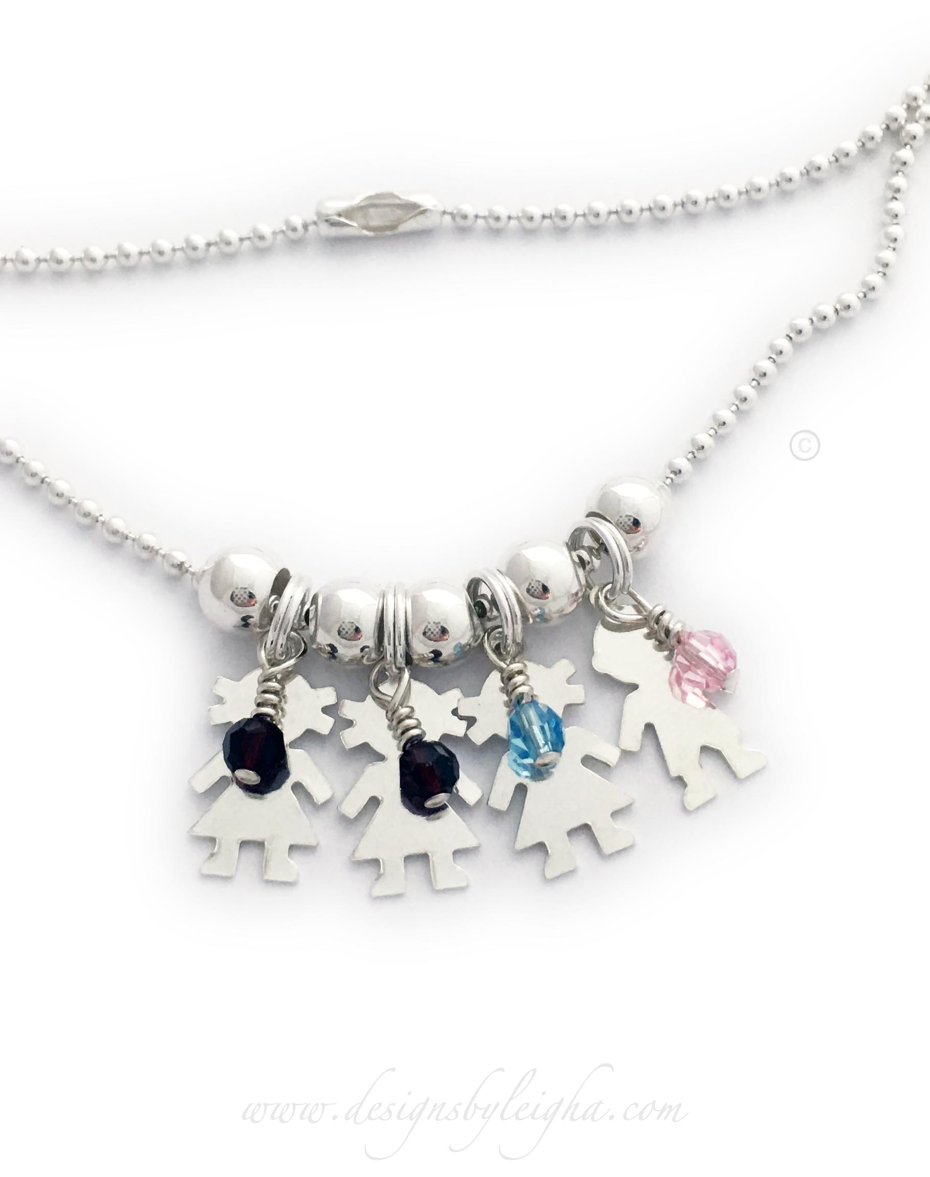Boy & Girl Charm Necklace shown with 4 kid charms and 4 birthstones on a Ball Chain necklace.