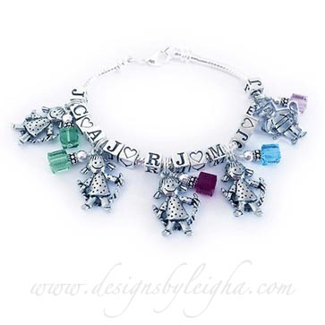 Kid Charm Bracelet includes boy charms and girl charms, birthstone charms and kids' initials.