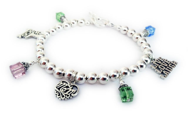 DBL-CB11-build 4 Birthstone Charm Bracelet, Filigree Mom Charm, Live Love Laugh Charm and a #1 Dog Charm.