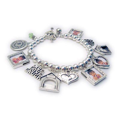 Mother Photo Frame and Birthstone Charm Bracelet