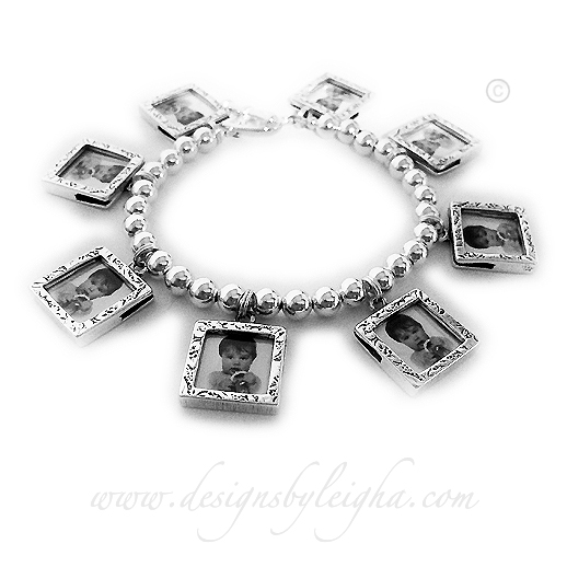 Eight square textured picture frame charm bracelets - all .925 sterling silver. Holds 16 pictures (front/back).