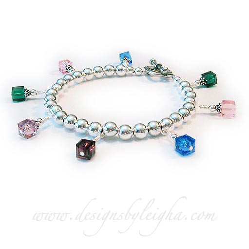 DBL-CB11-build 8 Birthstone Charm Bracelet  Order: 8 Birthstone Crystal Dangles. They upgraded to a Heart Toggle clasp.